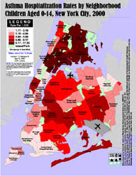 Nyc Map Gis.Weact Org Publications Gis Maps Asthma Hosp By Neighborhood 0